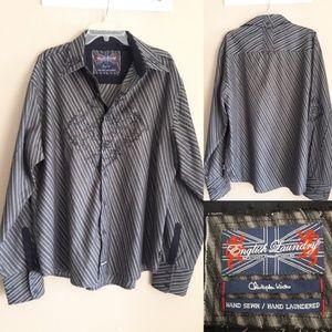 English Laundry Grey Striped Hand Sewn 2XL